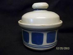 Iron Mountain Stoneware Pottery Huckleberry Covered Sugar Bowl Blue USA Disc