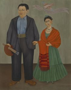 Frieda and Diego Rivera (Frieda y Diego Rivera in Spanish) is a 1931 oil painting by Mexican artist Frida Kahlo. This portrait was created two years after Frida Kahlo and Diego Rivera married, and is widely considered a wedding portrait. Frida E Diego, Diego Rivera Frida Kahlo, Frida Kahlo Exhibit, Frida Kahlo Artwork, Kahlo Paintings, San Francisco Museums, Mexican Artists, Latino Artists, Museum Of Modern Art