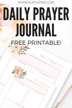 FREE printable daily prayer journal, with space for Bible verse, reflection, thankful list, and prayer for today. #Bibleverseoftheday #Bibleprintables