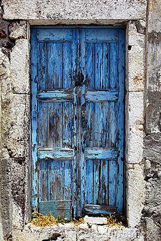 Old door. Photo of a Old door in santorini , Cool Doors, Unique Doors, The Doors, Entrance Doors, Doorway, Windows And Doors, Vintage Doors, Rustic Doors, Old Wooden Doors