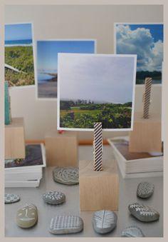 Portafotografia con una pinza y taco de madera