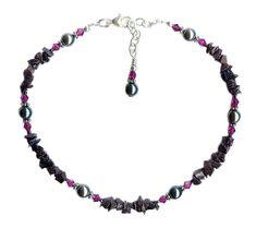 Beaded Anklets, Beaded Necklace, Swarovski Pearls, Ankle Bracelets, Dark Grey, 925 Silver, Glass Beads, Handmade Jewelry, Jewelry Design