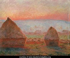 Les Meules à Giverny, soleil couchant (Haystacks at Giverny, the evening sun) - Claude Oscar Monet