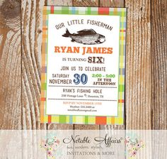 Colorful plaid Vintage Fish Little Fisherman BIRTHDAY invitation - fishing birthday party - no fish tale - any age - no color change by NotableAffairs