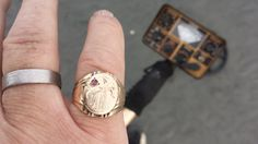 14k Gold Signet Ring with small Ruby that I found while beach metal detecting.