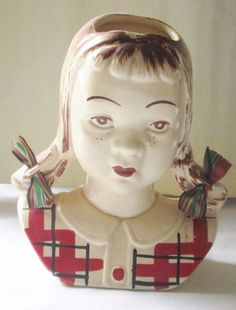 """Vintage 7"""" Head Vase Wall Pocket Jean Girl With Freckles Pigtails D231 #Unknown"""