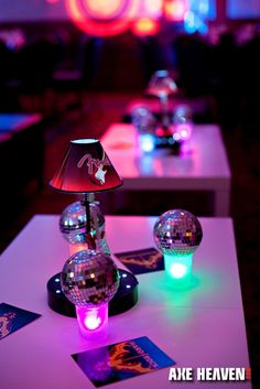 Awesome Disco balls mini guitar table decorations and a totally rock n roll event decor setting