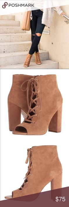NIB Sam Edelman Tan Lace Up Suede Bootie Still in box! These shoes are in trend and perfect for this summer!! Neutral color to wear with just about anything! Brand New Never worn Sam Edelman Shoes Lace Up Boots