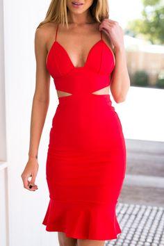 Spaghetti Strap Hollow Red Fishtail Dress RED: Bodycon Dresses | ZAFUL