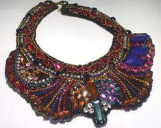Large JULIANA Rhinestone Cleopatra Collar Bib Haute Couture Runway Mixed Materials Textile Statement NECKLACE