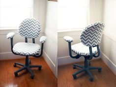 Recover your desk chair! Great step-by-step instructions on how she did this! (Spray Adhesive to smooth down the fabric and to make it permanently stick then a staple gun for the edges!)