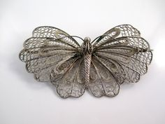 Silver Filigree Butterfly Figural Bug Brooch Vintage