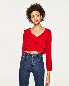 Image 1 of CROPPED TOP WITH FRILLS from Zara