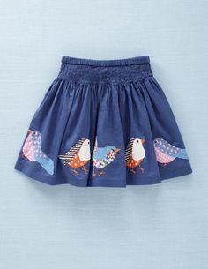 Mini Boden Appliqué Skirt (Little Girls & Big Girls)-applique one bird on… Little Girl Fashion, Little Girl Dresses, Kids Fashion, Girls Dresses, Diy Rock, Applique Skirt, Bird Applique, Skirt Mini, Twirl Skirt