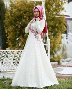 Rose Embroidery White Hijab Evening wear|Hijab gown  #hijabgowns