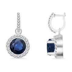 14k Gold Sapphire Hoop Earrings with Diamond Accents   Angara.com