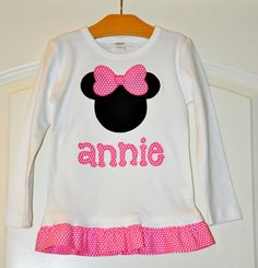 Minnie Mouse Ruffle Tee  Custom Personalize by julianneoriginals, $31.95