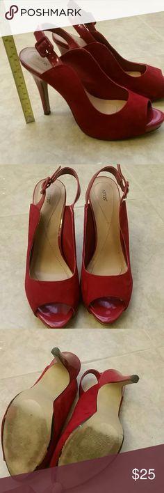 EUC Apt. 9 red heels EUC red Apt. 9 peep toe sling back heels, suede 9M Apt. 9 Shoes Heels