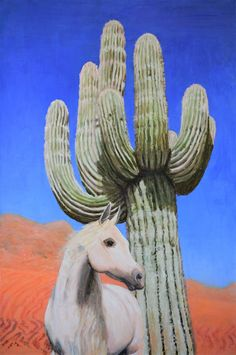 """Desert Dream - Original Acrylic Landscape Painting on Canvas Desert Cactus Horse"" by Jane Ianniello. Paintings for Sale. Bluethumb - Online Art Gallery"