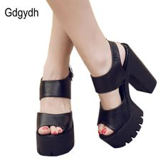 26.08$  Buy here  - Gdgydh Summer Thick Heel Open Toe Platform Female Sandals Black 2017 New Fashion Casual Women Shoes Pumps Office Ladies Sandals