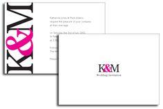 Magenta Monogram Invitation by DestinationStationery.com