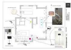 Een verlichtingsplan voor een woonkamer met hoekbank