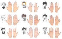 """soodyo: """"many many haikyuu hands """" Daichi Sawamura, Nishinoya Yuu, Bokuto Koutarou, Akaashi Keiji, Kenma Kozume, Bokuaka, Hinata, Haikyuu Meme, Haikyuu Fanart"""
