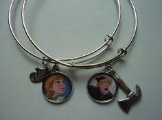 FROZEN Anna and Kristoff bangle charm bracelet set by ImAsMADaSaHaTTeR