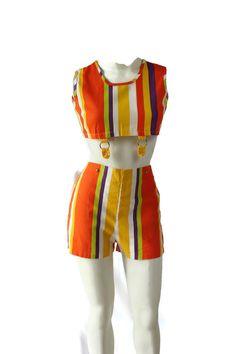 60s Romper / Mod / Shorts / Midriff Top / Stripes / Orange on Etsy, Sold