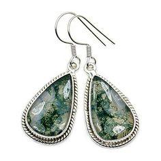 'Dark Shadows' Sterling Silver Moss Agate Dangle Earrings  Price : $37.95 http://www.silverplazajewelry.com/Shadows-Sterling-Silver-Dangle-Earrings/dp/B00P5RP1RA