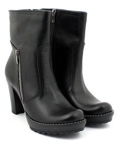 Another great find on #zulily! Black Zip-Up Stacked-Heel Leather Boot #zulilyfinds