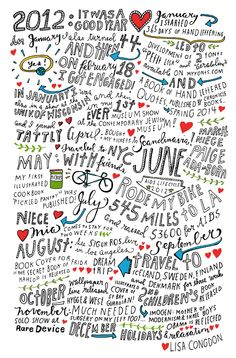 {Lisa Congdon's 2012 Year in Review- love this lettering/doodling idea as a  wrap up for your day/week/special occasion, etc. -nicole}