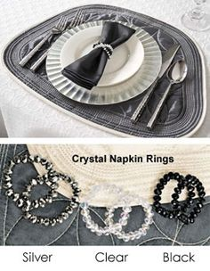 These placemats perfectly fit around a round table and with crystal napkin rings, make the perfect table setting for the holidays! Solutions.com