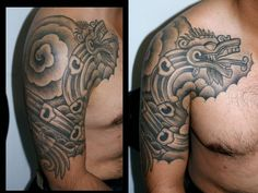 Grey Ink Aztec Tattoo On Man Right Shoulder