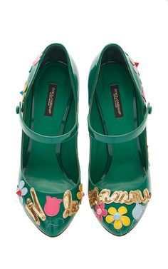 Green Patent Leather Embellished Mary Jane Heels  by Dolce & Gabbana Now Available on Moda Operandi