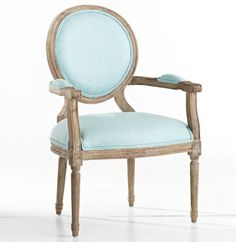 Simpler, less ornate design characterizes the style of Louis XVI furniture—a return to the classic designs of the ancient Romans. This Louis XVI End Chair in Aqua embodies those qualities: elegance, yet simplistic linen upholstery, weathered oak finish, and chair legs that imitate Roman columns. $389.