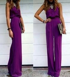 20 Stylish Wedding Guest Looks We're Pinning Right Now - Wedding Party. That royal purple jumpsuit though, I NEED IT. Looks Style, Looks Cool, Looks Pinterest, Wedding Guest Looks, Perfect Wedding, Look Fashion, Womens Fashion, City Fashion, Latex Fashion