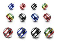 Striped Stainless Steel Loose Balls - 5mm Spare Parts for 14 gauge Body Jewellery