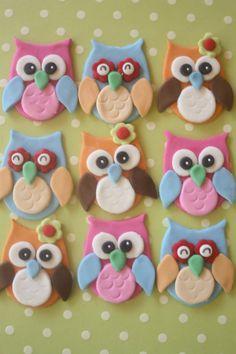 12 toppers de cupcake xfondantbúhos 2.0 by PastelFiesta | Etsy