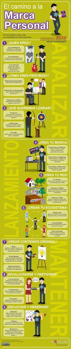 Nueve pasos para crear tu marca personal. #infografía #MarcaPersonal