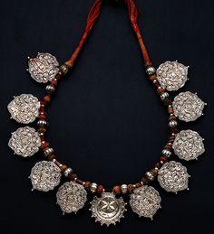 Elephant festivity necklace from India      IndiaSilver, cords    20th century
