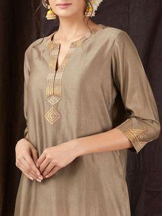 Brown Gota Chanderi Kurta is part of Kurti embroidery design - Salwar Designs, Silk Kurti Designs, Kurta Designs Women, Neck Designs For Suits, Dress Neck Designs, Blouse Designs, Designer Salwar Kameez, Salwar Kurta, Kurti Embroidery Design