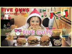 FIVE GUYS BURGERS + FRIES!! MUKBANG [먹방] - YouTube