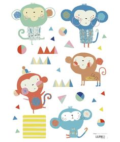Sticker chambre enfant singes