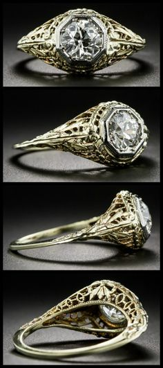 Antique Art Deco engagement ring with yellow gold filigree and an old European cut diamond in a platinum bezel.