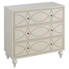 Bold nailheads give this 3-drawer chest a glamorous feel. Pair it with a sheepskin rug and gold-finished lamp to dial up the drama, or let it lend a sophisti...