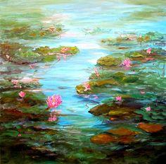 Edge of Lily Pond, painting by Barbara Pirkle