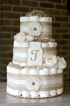 3 Tier Shabby Mason Jar Flower Diaper Cake by BabeeCakesBoutique