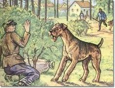 old painting of Airedale and intruder