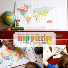 free printable maps with the continents, oceans and united states. Also, free smaller versions for learning fun. Learning Activities, Kids Learning, Activities For Kids, Crafts For Kids, Kids Diy, Teaching Geography, World Geography, Handmade Home, Map Puzzle